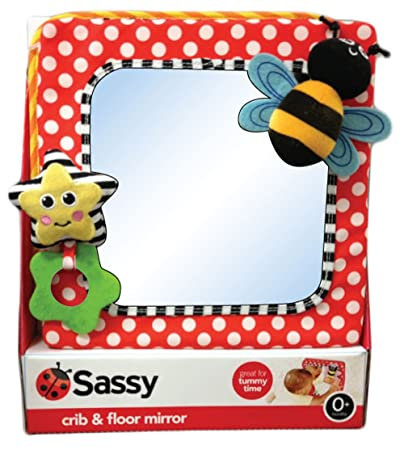 Amazon.com : Sassy Developmental Crib and Floor Mirror, Red ...