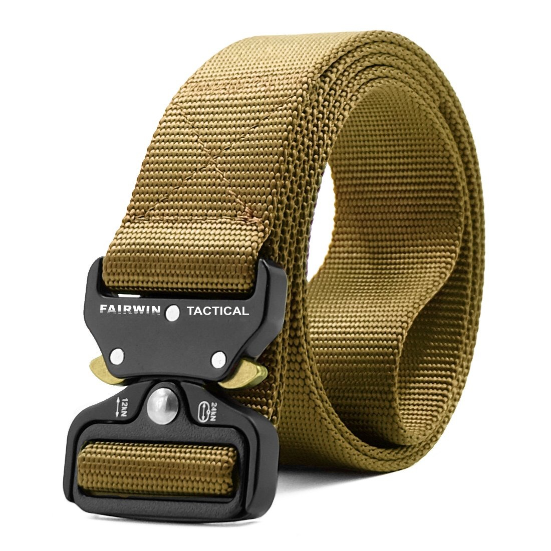 Fairwin Tactical Belt, Military Style Webbing Riggers Web Belt with Heavy-Duty Quick-Release Metal Buckle …