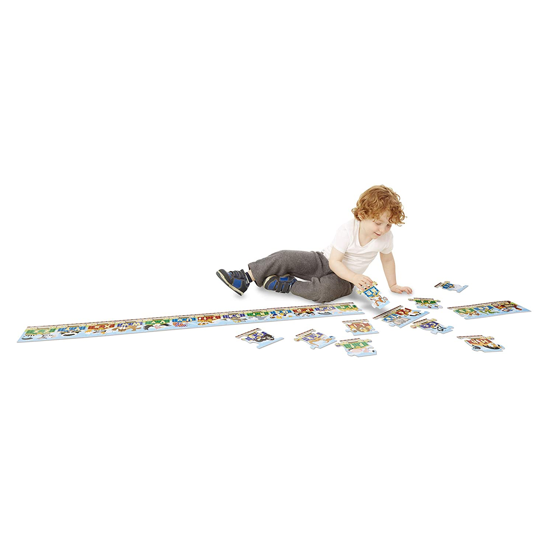 Floor Puzzles, Easy-Clean Surface, Promotes Hand-Eye Coordination, 27 Pieces, 10 Feet Long Melissa /& Doug Alphabet Express Jumbo Jigsaw Floor Puzzle
