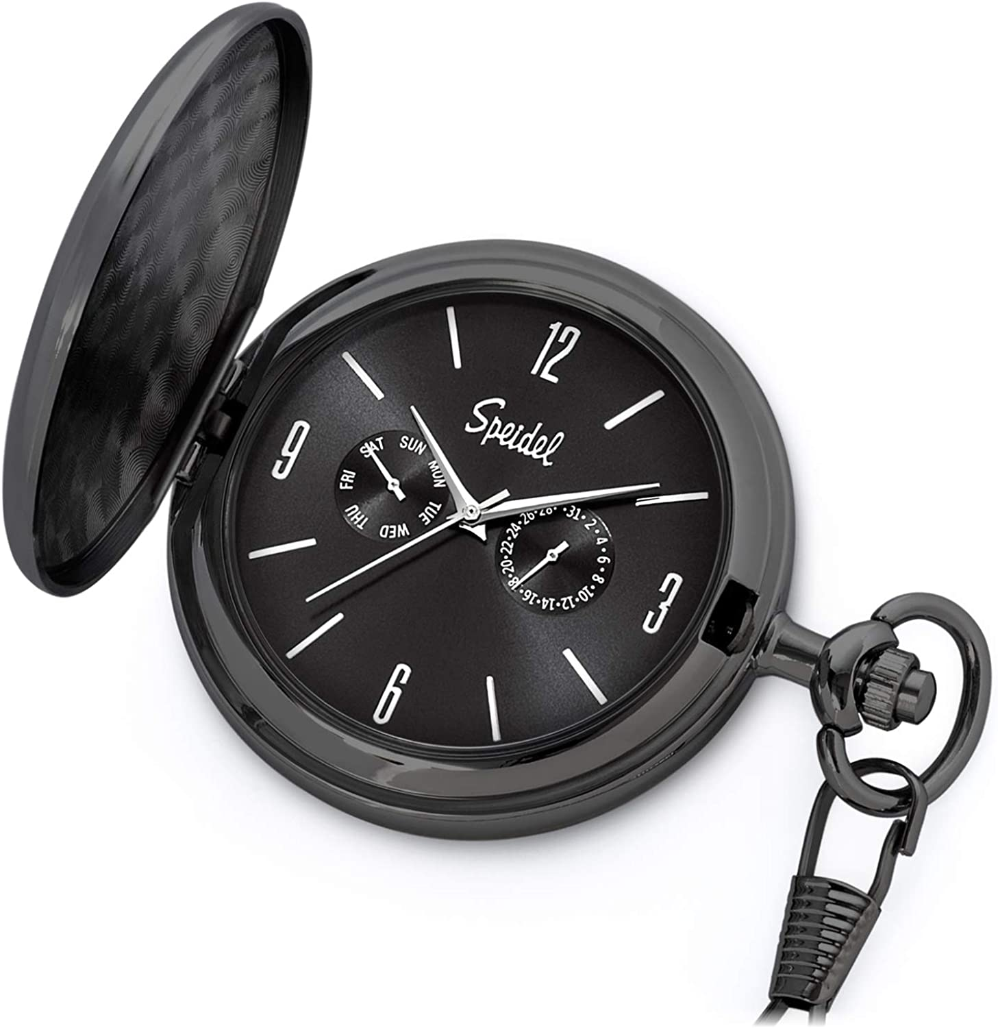 """Speidel Classic Brushed Satin Engravable Pocket Watch with 14"""" Chain, Seconds Hand, Day and Date Sub-Dials"""
