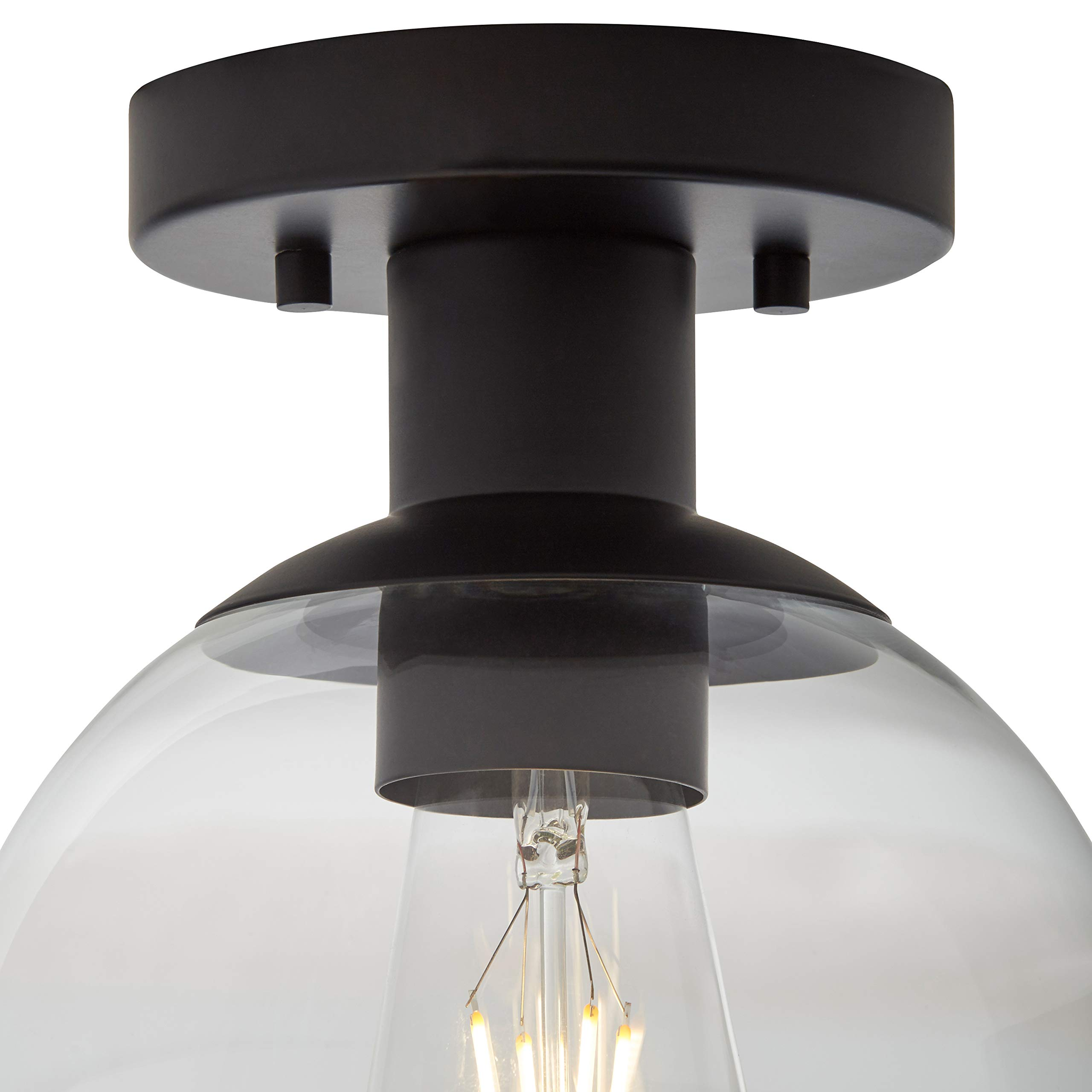Rivet Mid-Century Flush-Mount with Bulb, 8.875''H, Black by Rivet (Image #1)