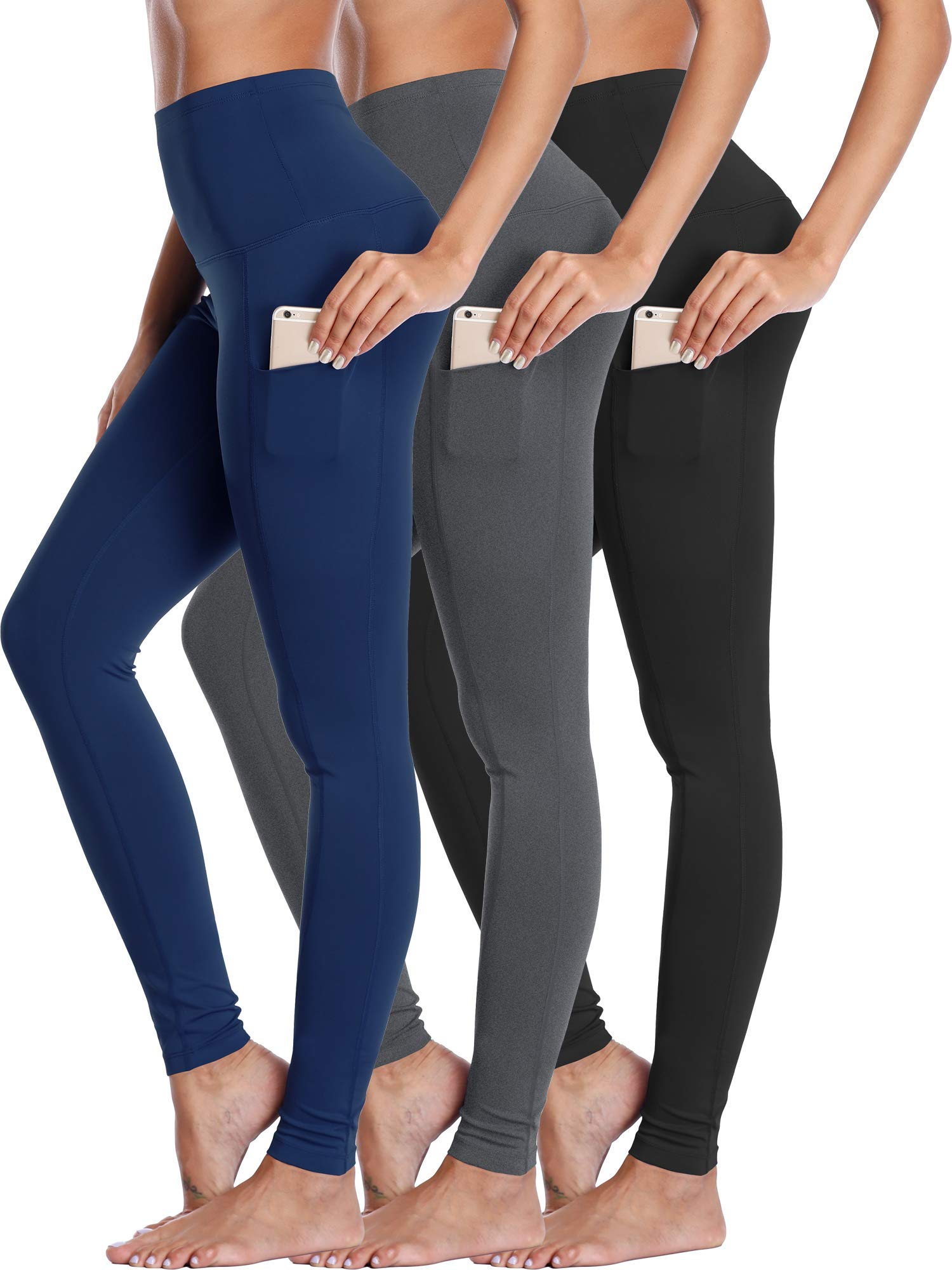 Neleus Women's 3 Pack Yoga Pant Workout Leggings Tummy Control High Waist,103,Black,Grey,Navy,L by Neleus