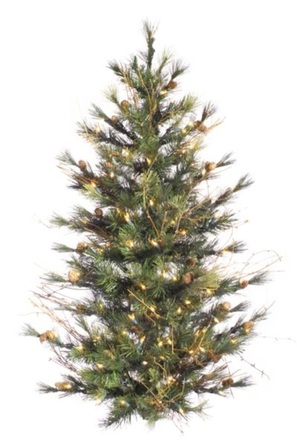 Vickerman 3' Pre-Lit Mixed Country Pine Artificial Wall or Door Christmas Tree - Clear