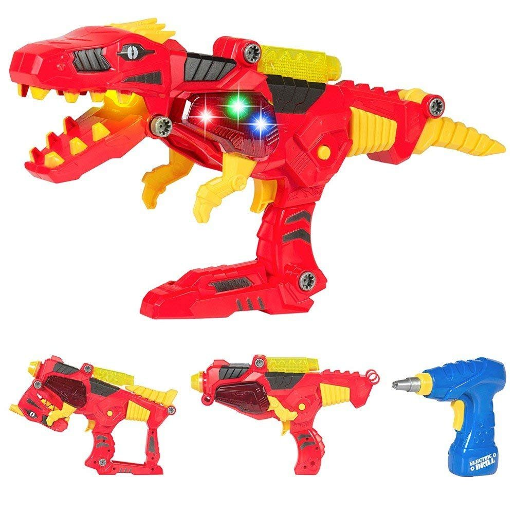 Dinosaur Toy Blaster, 2 in 1 Transformers Toys For Kids – Build & Take Apart Cool Tyrannosaurus Rex Dinosaur Toy for Boys & Girls Aged 3+, Best Gift Kits with Light & Sound