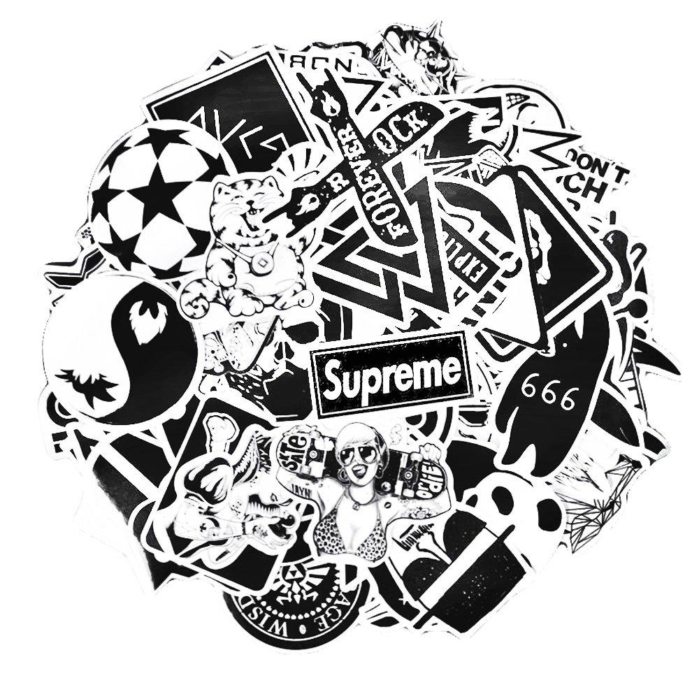 Sticker pack 100 pcs neuleben graffiti black white sticker decals vinyls for laptopkidscarsmotorcyclebicycleskateboard luggagebumper stickers hippie