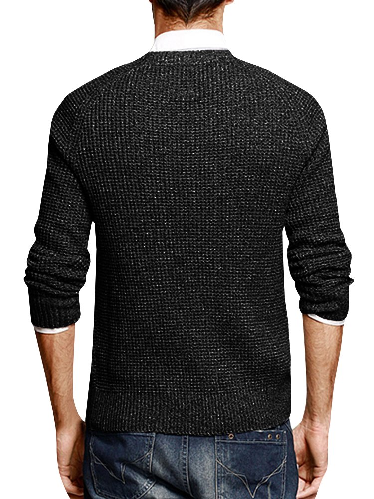 Puwany Mens Casual Pullover Sweater Long Sleeve Knitted Crew Neck Solid Pullover by Puwany (Image #3)