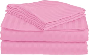 Superior 1500 Series Premium Quality 100% Brushed Soft Microfiber 3-Piece Luxury Deep Pocket Cooling Bed Sheet Set, Classic Sateen Stripe, Wrinkle and Stain Resistant - Twin, Pink