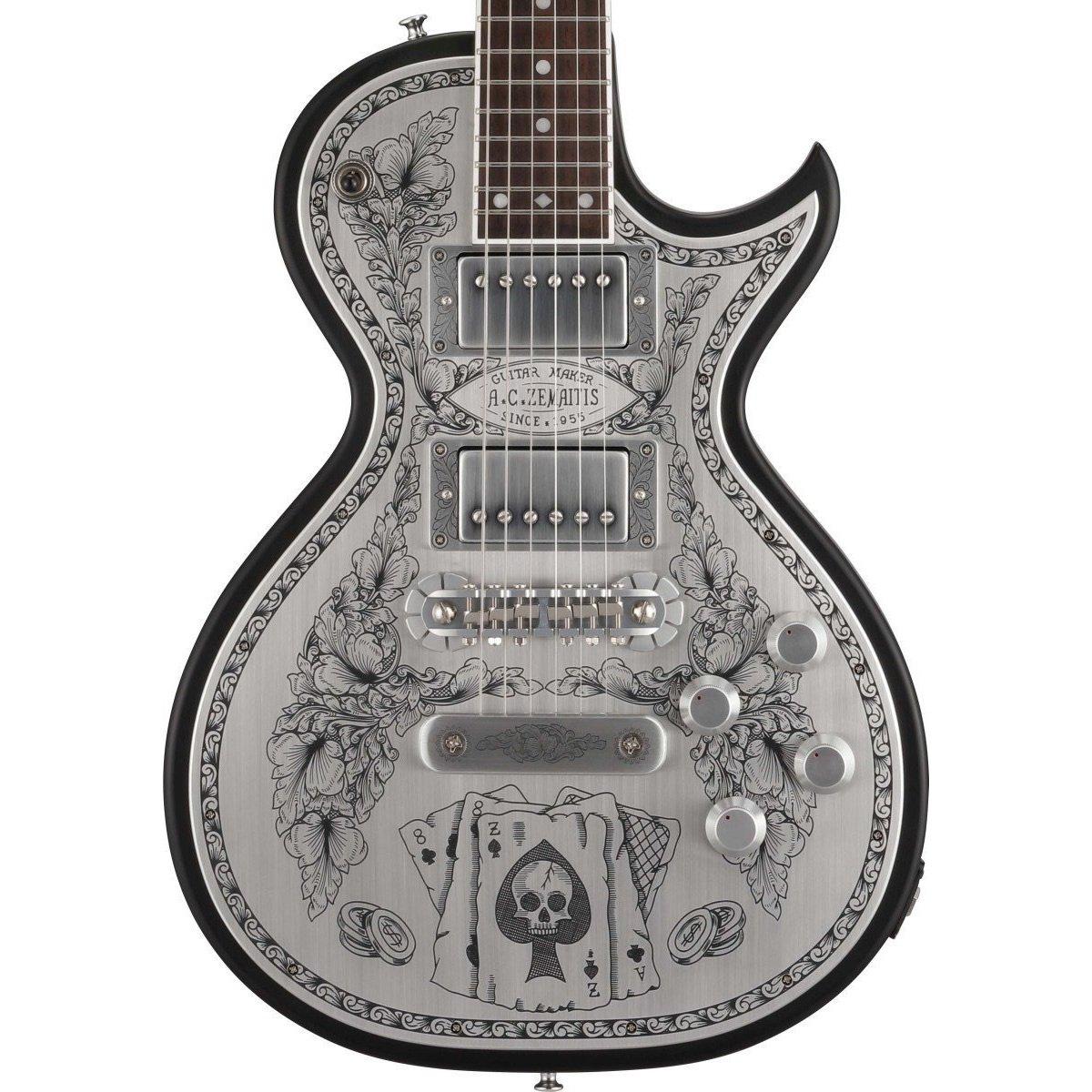 ZEMAITIS antanus a24mf Metal frontal Aces & 8 acabado en negro de guitarra eléctrica con funda rígida: Amazon.es: Instrumentos musicales
