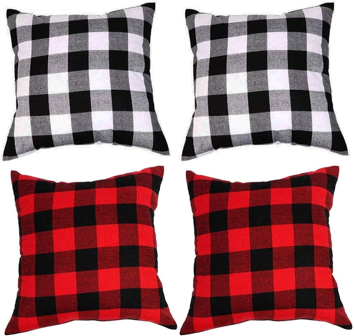 Deloky 4 Packs of Buffalo Check Plaid Pillow Covers -18 x 18 Inch Black & White and Red &Black Plaid Tartan Linen Throw Cushion Case for Sofa Bedroom and Car