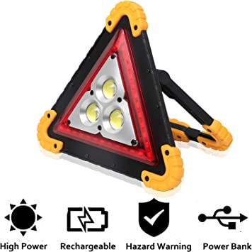 Grebest Triangle LED Light Road Safety Warning Light Car Triangle COB LED Emergency Safety Warning Lamp Light Outdoor Camping Lantern Yellow