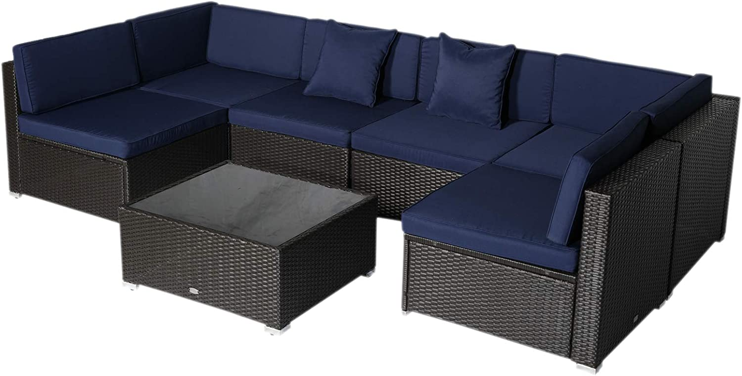 Amazon Com Outsunny 7 Piece Outdoor Patio Furniture Set With Modern Rattan Wicker Perfect For Garden Deck And Backyard Dark Blue Garden Outdoor