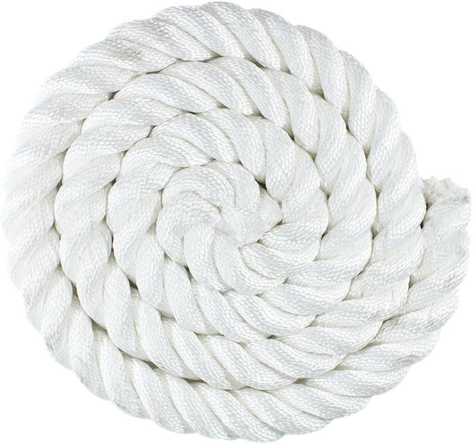 Golberg Premium USA Made Twisted Nylon Rope 1//2 Inch x 10 Feet, White