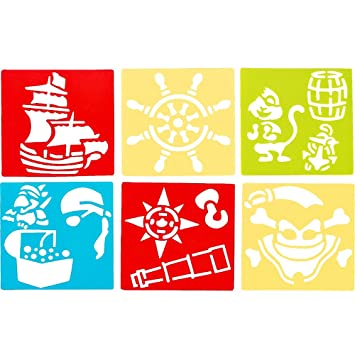 German Trendseller 6 X Gabarits De Dessin Des Motifs De Pirates Normographs Bateau Pirate Volant Simple Peindre Loisirs Créatifs L Anniversaire