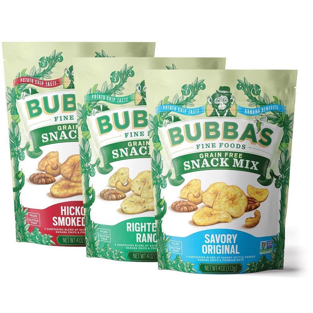 Bubba's Fine Foods Paleo Snack Mix Variety Pack, 4oz (Pack of 3) | Grain Free, Gluten Free, Low Sugar