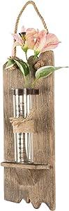 "Rustic Wall Hanging Flower Vase: 13""x4.5"" Hanging Glass Flower Planter Vase Terrarium Container, Shabby Chic, Driftwood, Barnwood, Farmhouse, Reclaimed Wood"