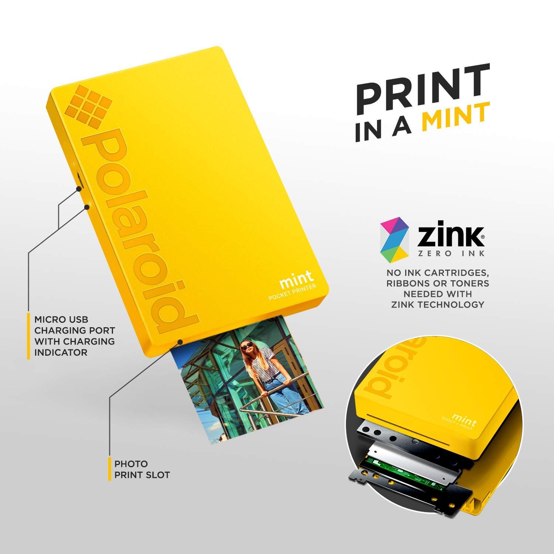 Polaroid Mint Impresora de Bolsillo Inalámbrica (Amarillo) Kit de ...