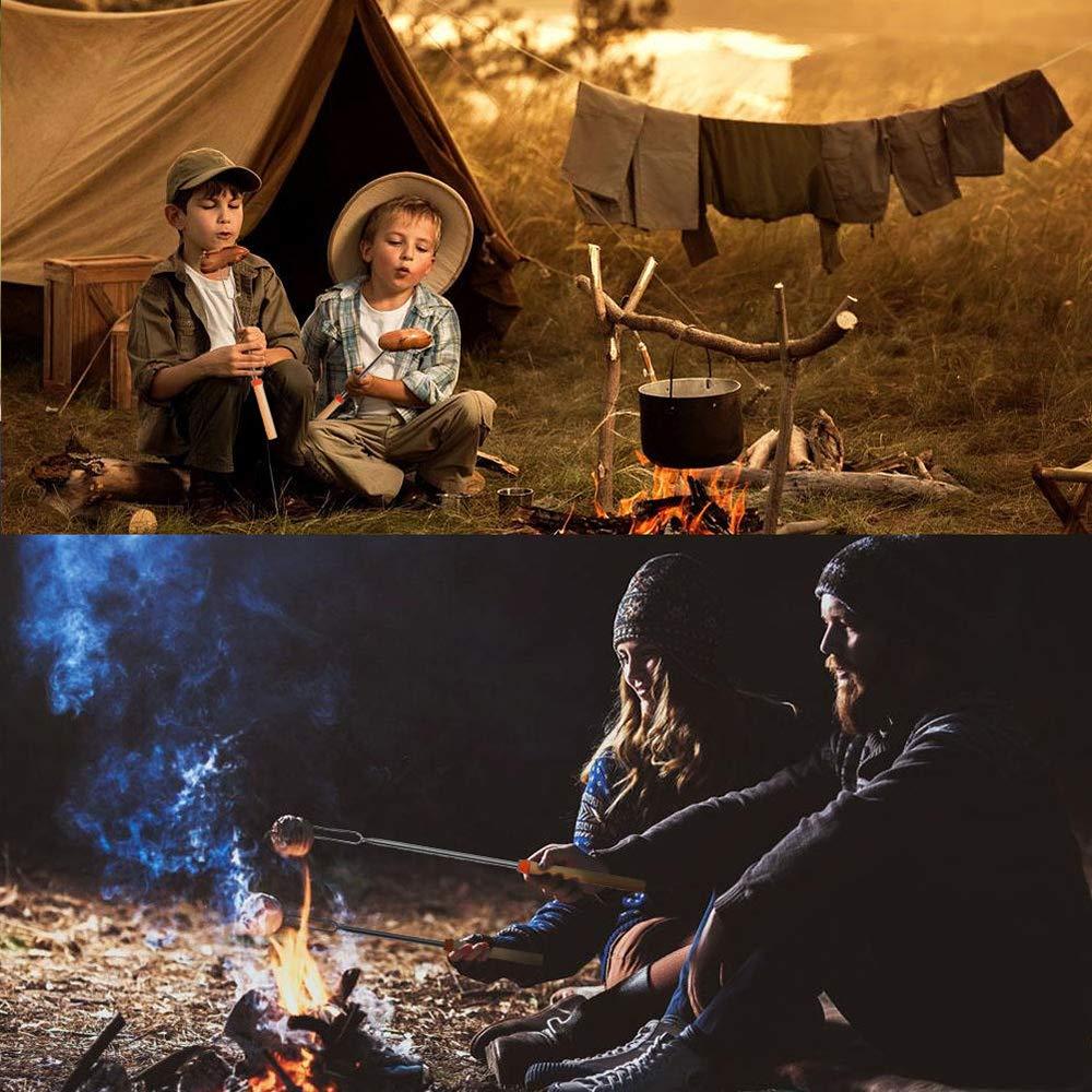 Bonfires Campfires Genenic Marshmallow Roasting Sticks Extending Roaster Telescoping Extendable Smores Skewers Hot Dog Forks 32 inch for Camping