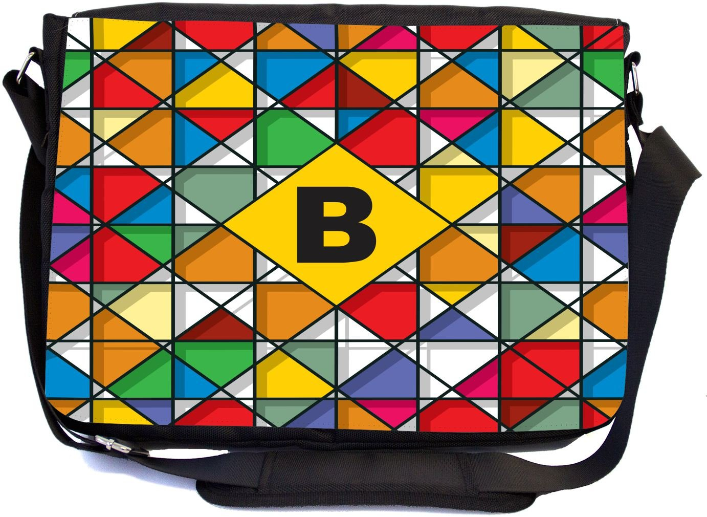 Rikki Knight Letter B Monogram Vibrant Colors Stained Glass Design Design Combo Multifunction Messenger Laptop Bag - with Padded Insert for School or Work - Includes Wristlet & Mirror
