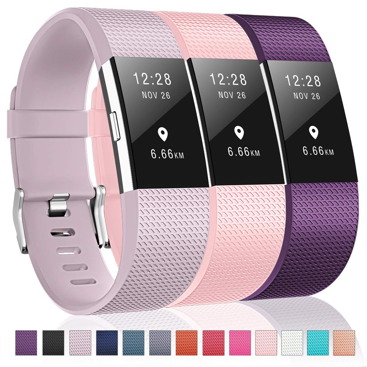 For Fitbit Charge 2バンド、Humenn交換アクセサリースポーツバンドfor Fitbit Charge 2 HR B07GR2MNF4 10,Lavender/Blush Pink/Plum Large( 6.7\