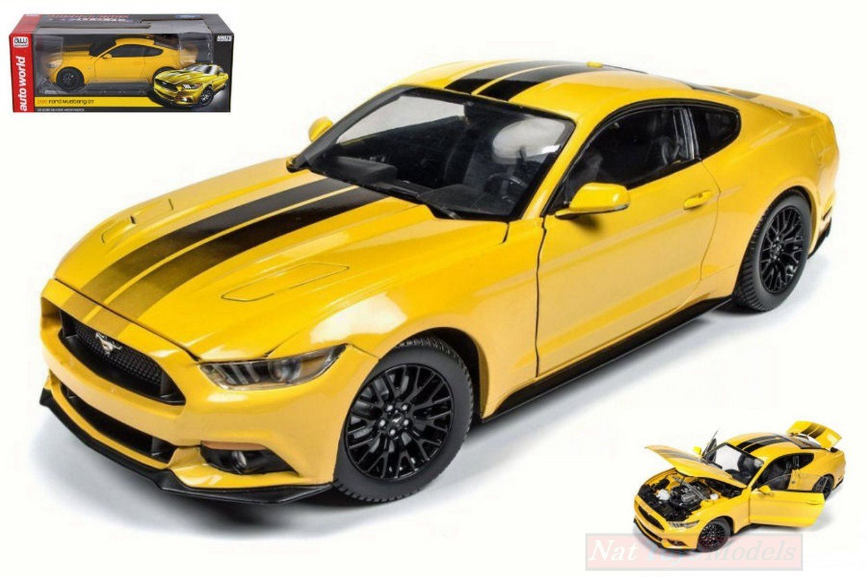 Auto world aw229 ford mustang gt 2016 yellow c black stripes 118 die cast model toys games amazon canada