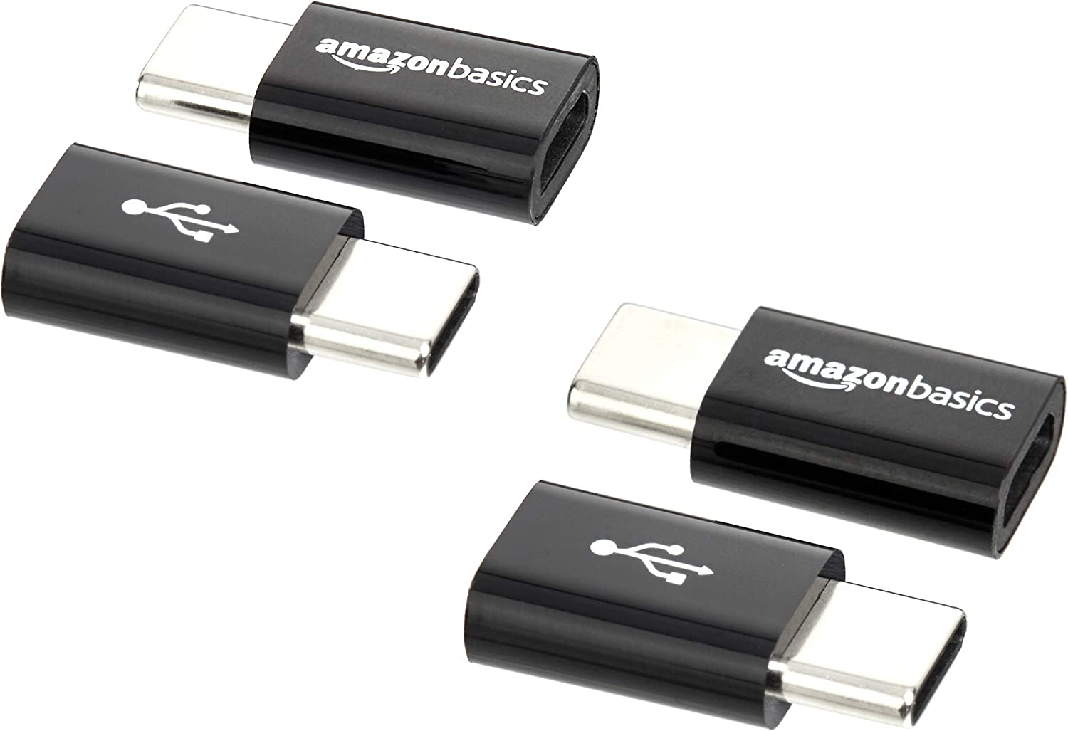 AmazonBasics Micro USB (Female) to USB-C (Male) Adapter - Black, 4-Pack