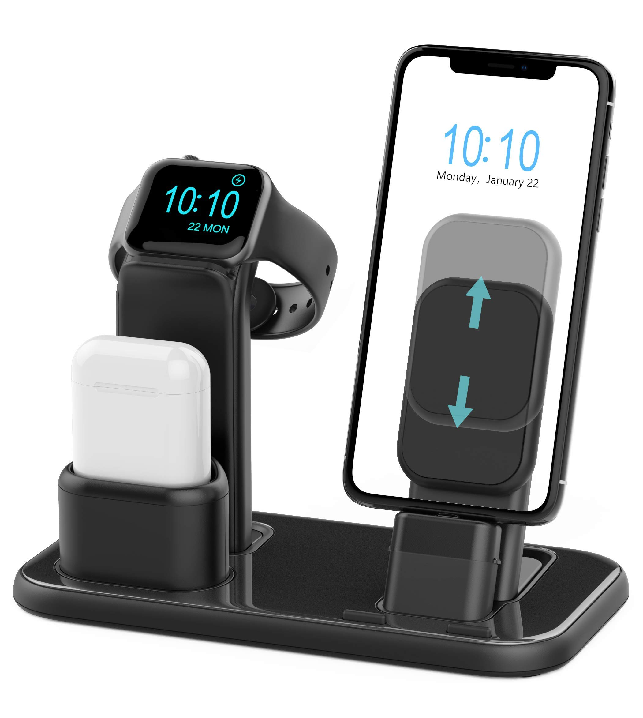 Beacoo Upgraded 3 in 1 Charging Stand for iWatch Series 4/3/2/1, Charging Station Dock Compatible with Airpods iPhone Xs/X Max/XR/X/8/8Plus/7/7 Plus /6S /6S Plus/9.7 inches iPad(No Charger & Cables) by BEACOO
