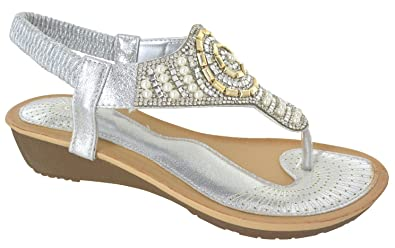 8ddfe54a6df2 EYESONTOES Ladies Womens Low Heel Wedge Fancy Summer Dress Party Beach  Shoes Sandals Size