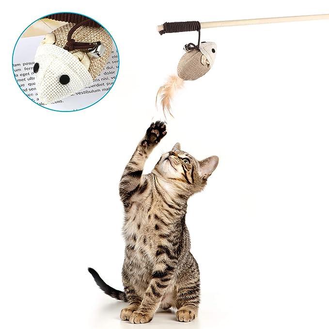 Emooqi Varita de Juguete para Gatos, Juguete de Plumas de Gato Interactivo Juguete Varita de 5 Varitas con 5 Piezas Diferentes Plumas de Juguete Divertido ...