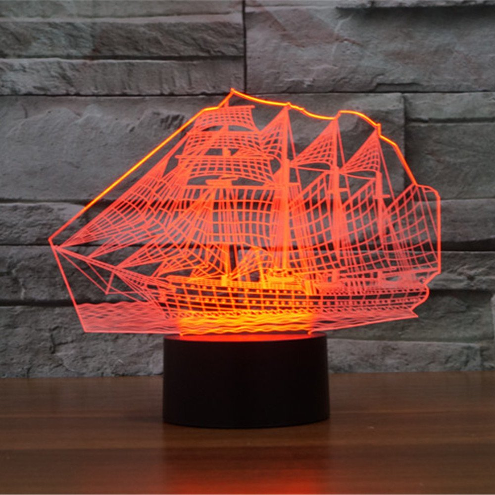 Sailboat 3d night light elstey 7 color changing touch optical sailboat 3d night light elstey 7 color changing touch optical illusion table desk lamps with acrylic flat abs base usb charger amazon geotapseo Image collections
