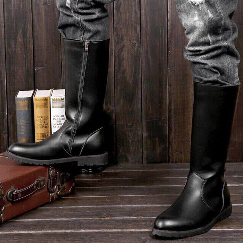 Hilotu Clearance Simple Shoes Men's Shoes Smooth Leather Upper Side Zipper Mid Calf Combat Boots for Gentlemen (Color : Black, Size : 9.5 D(M) US) by Hilotu-shoes (Image #5)