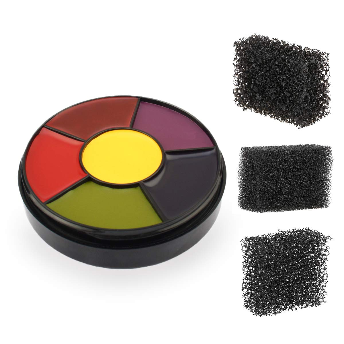 6 Color Bruise Wheel for Special Effects, Face Body Oil Paint Theatrical Halloween Makeup with 3pcs Stipple Sponges