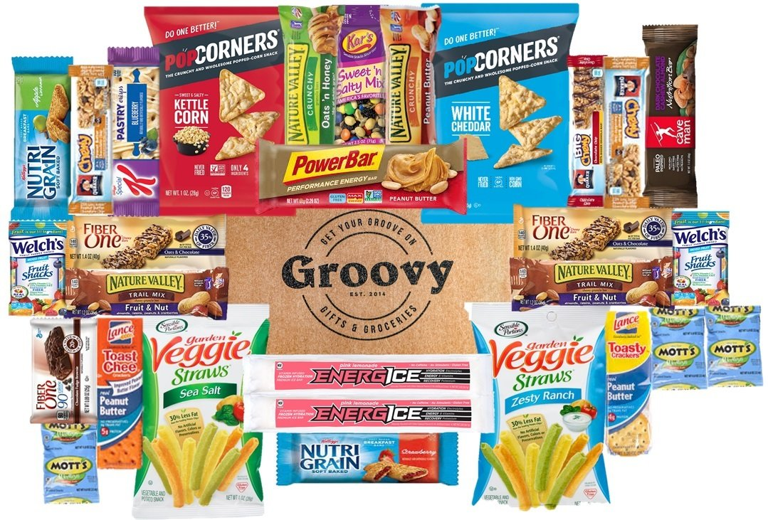 The Groove Box Healthy Variety Full-Size Snack Box - Assorted Snacks, Bars & More - 30 Snack Items Care Package to Share and Send Friends, College Students, Military, Road Trip Snack Box by Groove Box