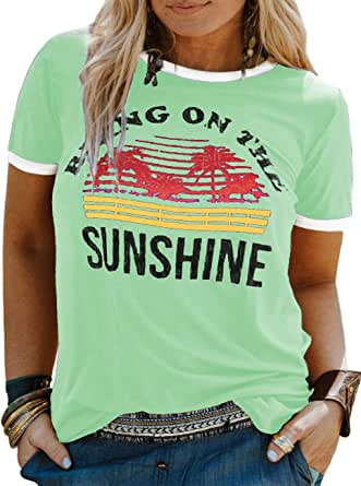 YASAKO Women Plus Size Good Vibes Bring On The Sunshine Casual Tee Shirts Cute Graphic Tunic