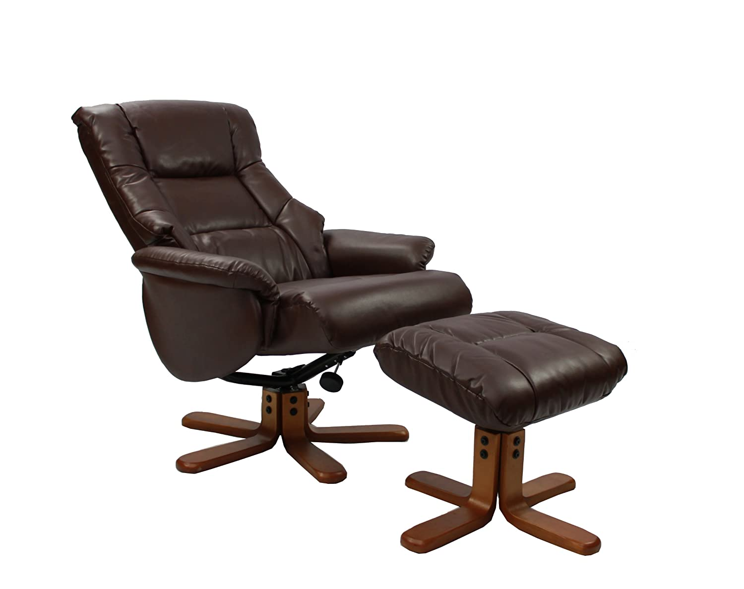 The Shanghai - Bonded Leather Recliner Swivel Chair u0026 Matching Footstool in Nut Brown Amazon.co.uk Kitchen u0026 Home  sc 1 st  Amazon UK & The Shanghai - Bonded Leather Recliner Swivel Chair u0026 Matching ... islam-shia.org