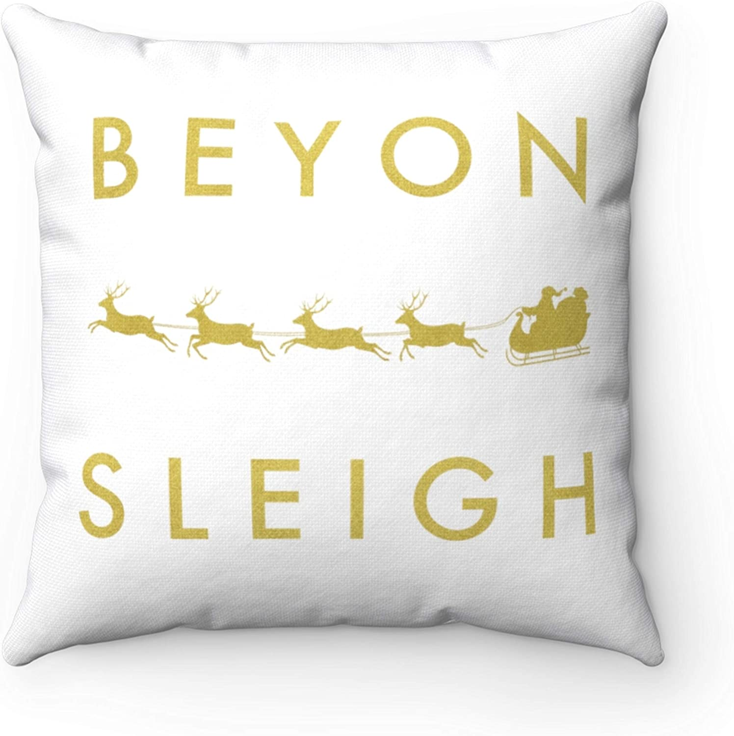Lplpol Throw Pillow Cover Beyon Sleigh Pillow Cover Beyhive Beyonce Christmas Pillow Gold Print Concealed Zipper Christmas Room Decor Christmas Throw Pillow 22 Inch Christmas Decorations