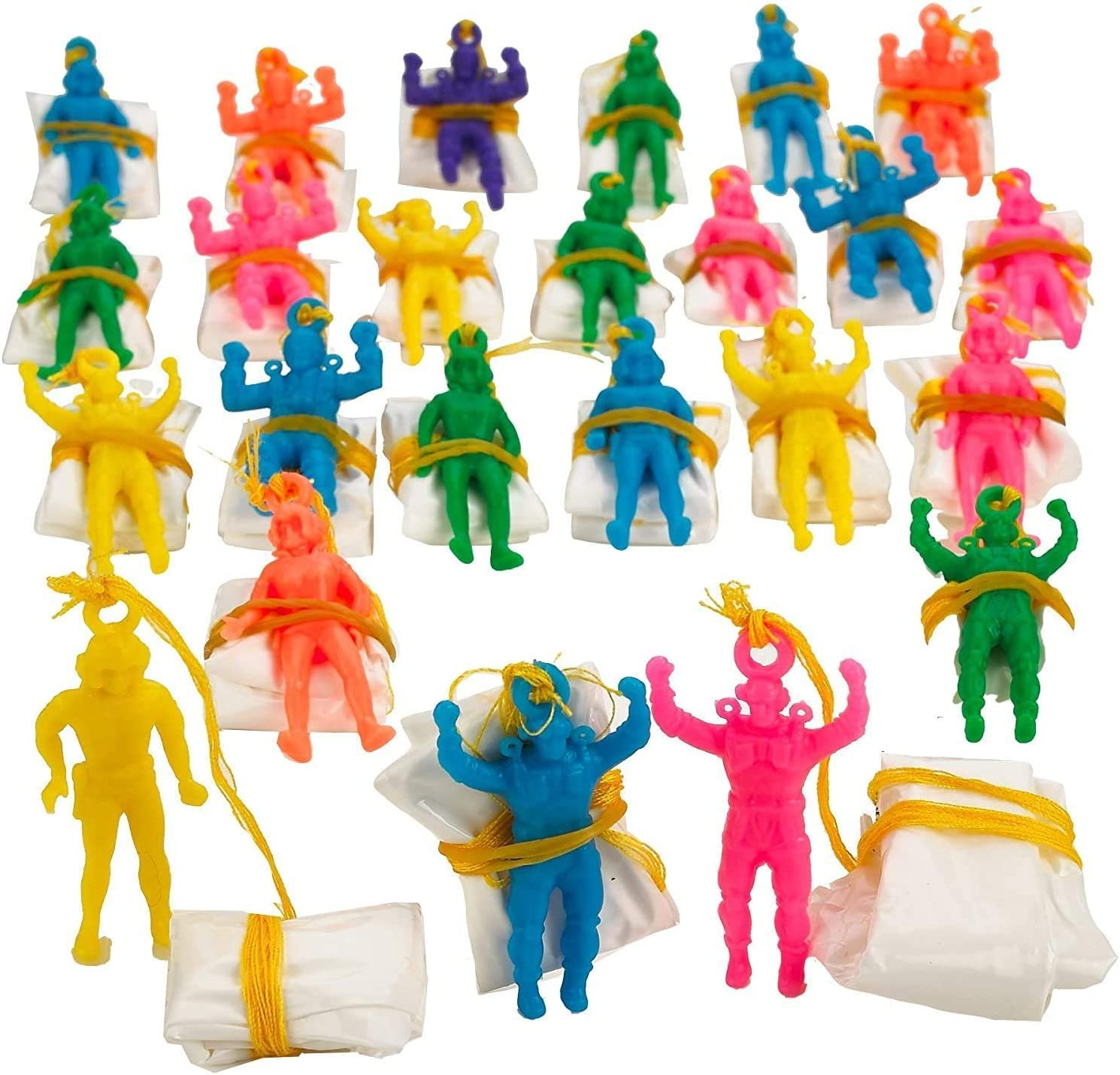1.75 Inch 48 Pack Parachute Men Party Favors Kicko Mini Vinyl Paratroopers for Kids Girls Boys Bag Stuffers Toys Prizes Assorted Colors Cool Airborne Army Guy Action Figures