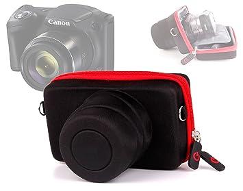 DURAGADGET Funda/Estuche para Cámara Canon Powershot SX420 IS - Roja Y Negra - Cierre De Cremallera Y Banda para El Cinturón