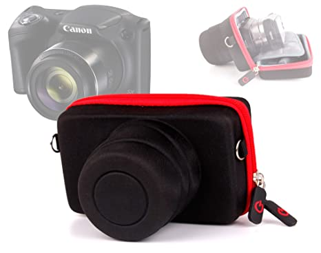DURAGADGET Shock-Absorbing Protective Compact Camera Case in Black & Red + Adjustable Neck Strap for The Canon Powershot SX420 is Camera