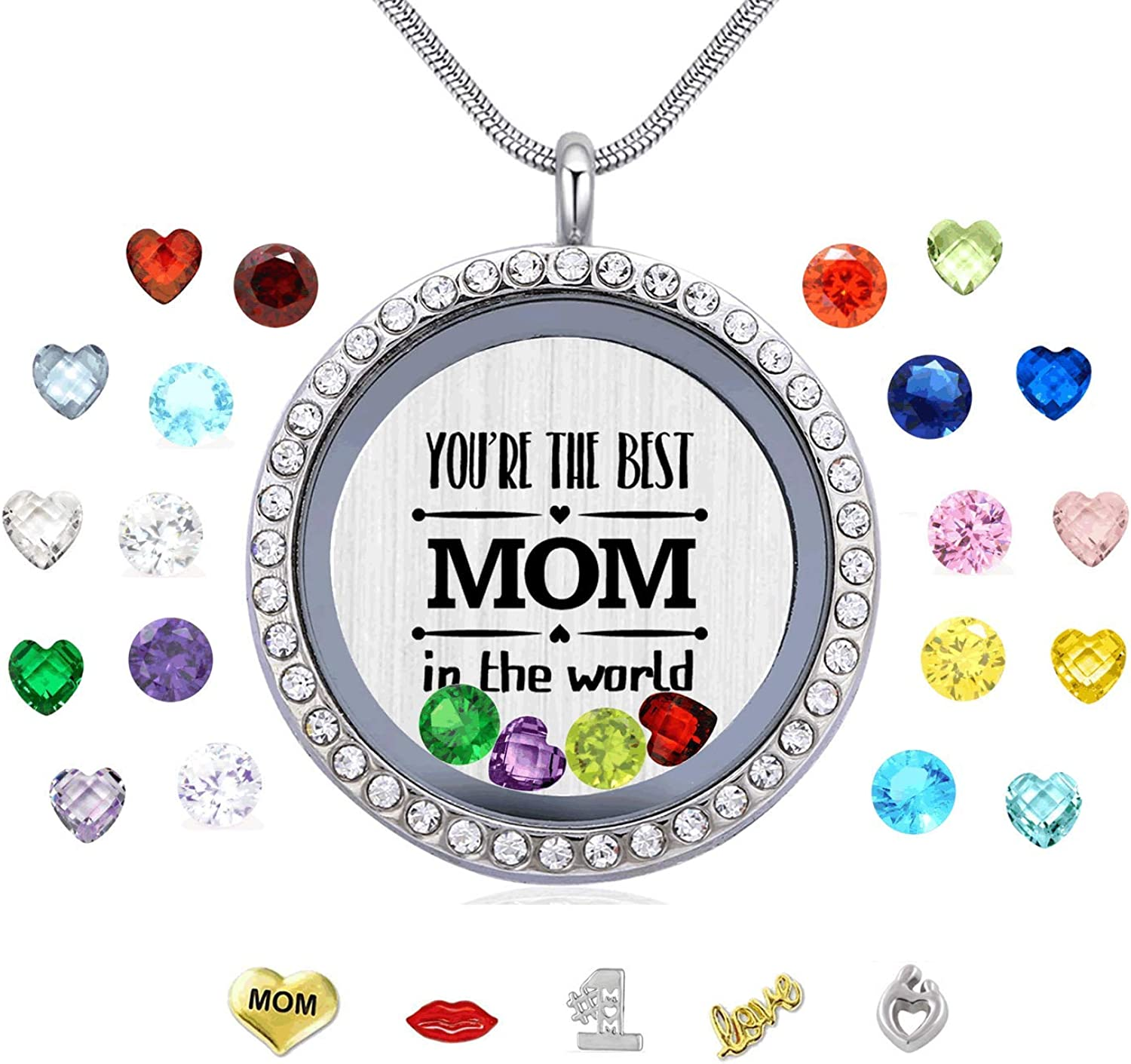 Veeshy Best Mom Mother Gift, Floating Living Memory Locket Necklace Pendant with Charms & Birthstones for Women