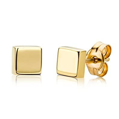 c62716dd3 Miore 9 kt (375) Yellow Gold Square Stud Earrings for Women, 4.5mm:  Amazon.co.uk: Jewellery