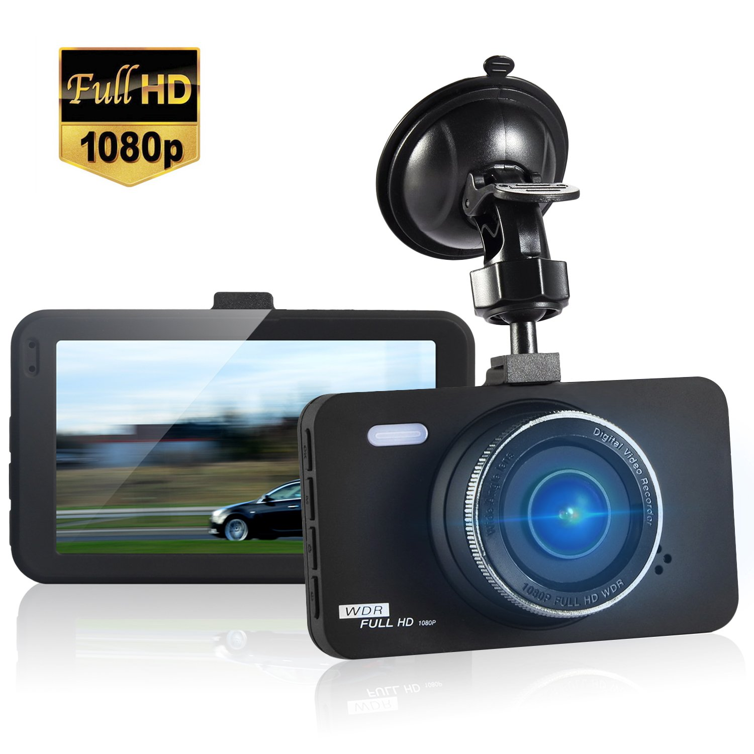 Dash Cam 3 LCD FHD 1080P 170 Degree Wide Angle Dashboard Camera Car Recorder DVR with 16GB SD Card,Night Vision WDR,Loop Recording G-Sensor