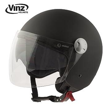 Vinz - Casco tipo jet para motocicleta en negro mate, tallas XS-XL |