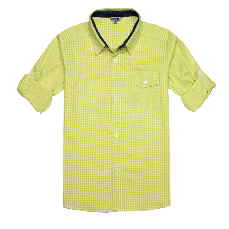Bienzoe Boy 's Cotton Plaid Roll Up Sleeve Button Down Sports Shirts Yellow/White Size 9/10