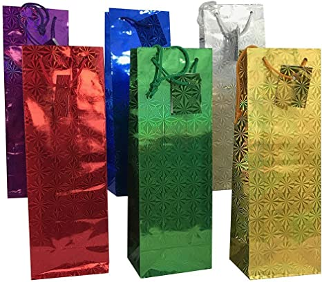 Pack of 3 Holographic Wine Bottle Gift Present Bags Christmas Birthday Party