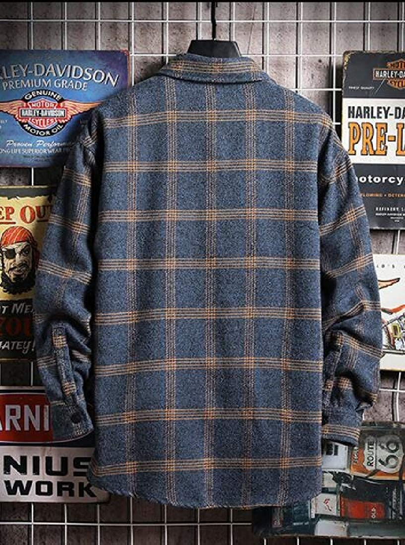 Fubotevic Mens Plaid Baggy Long Sleeve Casual Chest Pocket Button Up Dress Work Shirt