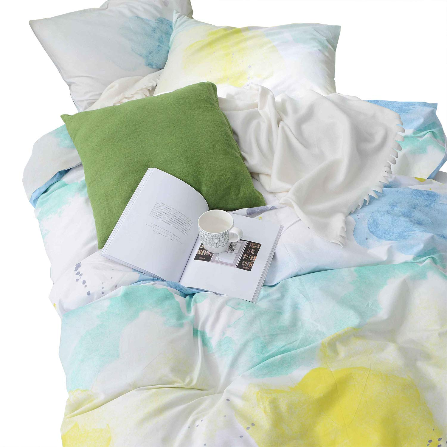 Wake In Cloud - Watercolor Duvet Cover Set, 100% Cotton Bedding, Teal Blue Yellow Gray Painting Pattern Printed on White, with Zipper Closure (3pcs, Queen Size)
