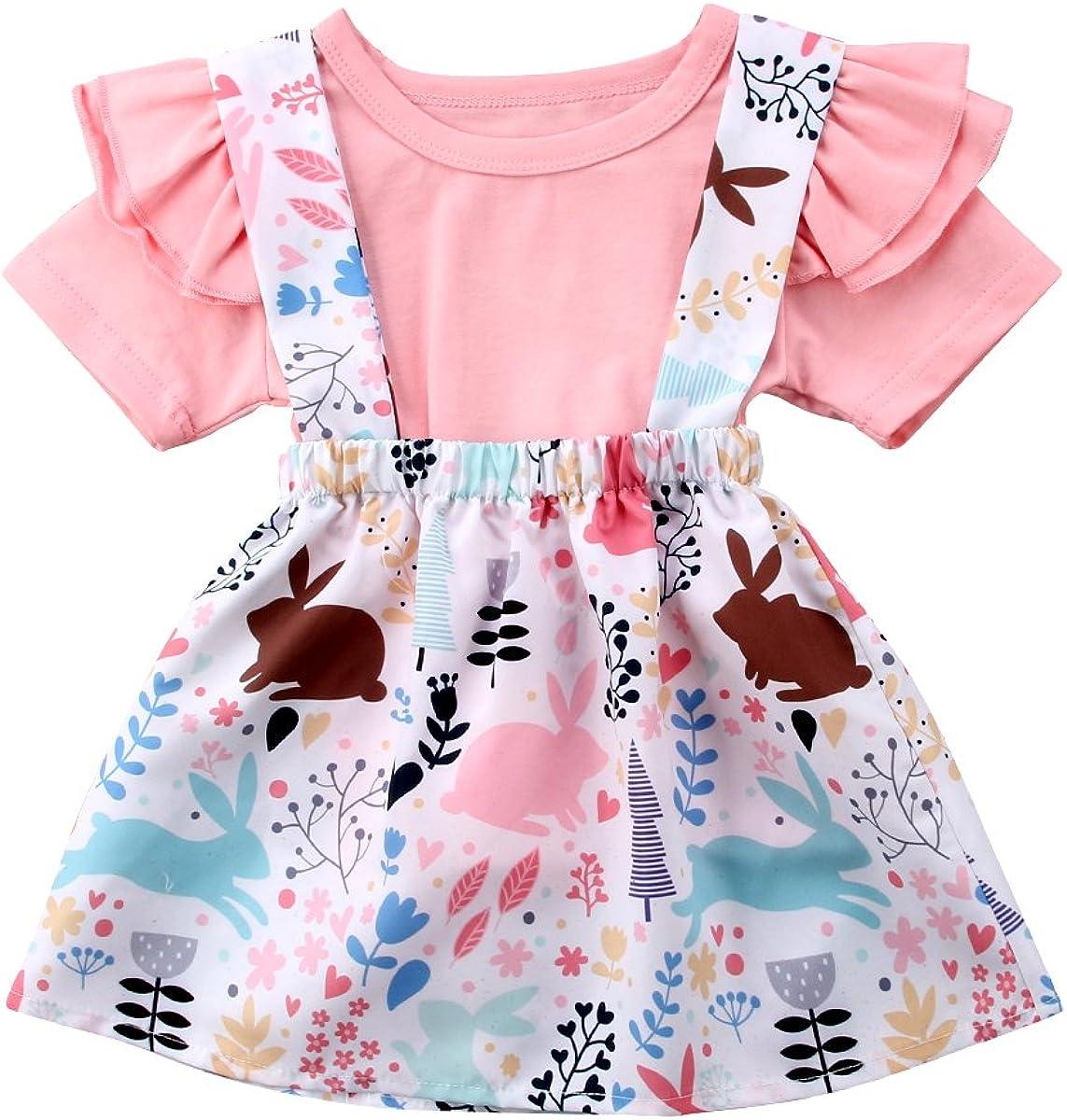 Easter Kids Baby Girl Floral Top T-shirt Dress Legging Pant Outfit Set UK Stock