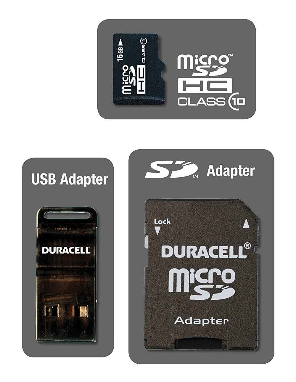 Duracell DU-3in1C10 16GB Class 10 microSDHC..