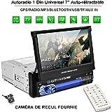 Catuo Autoradio Bluetooth GPS 1Din 7'' Écran Auto Rétractable Tactile 1080p Radio FM/AM/MP3/SD/USB Multimédia Player Main Libre Stéréo Tuner Caméra de Recul Télécommande Fournie