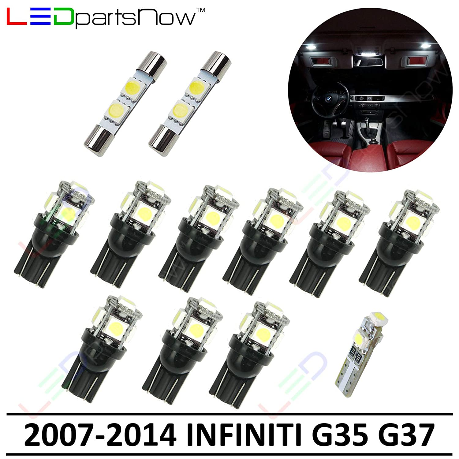 LEDpartsNow Interior LED Lights Replacement for 2007-2014 Infiniti G35 G37  Sedan Accessories Package Kit (12 Bulbs), WHITE